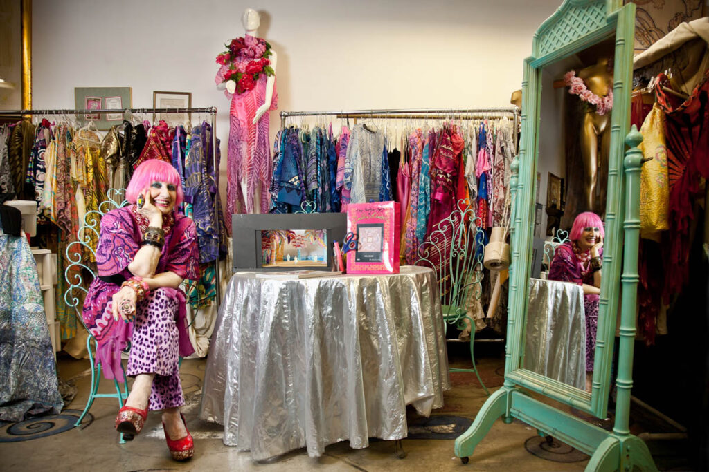 zandra rhodes celebrity portrait london pink hair