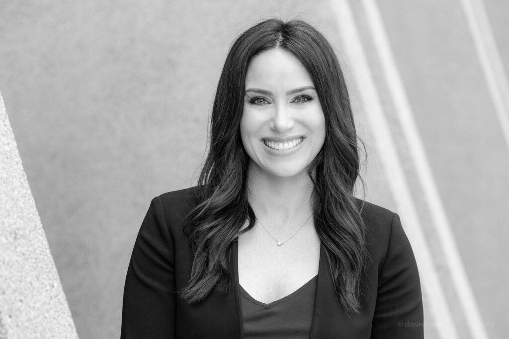 los angeles female lawyer headshot black and white
