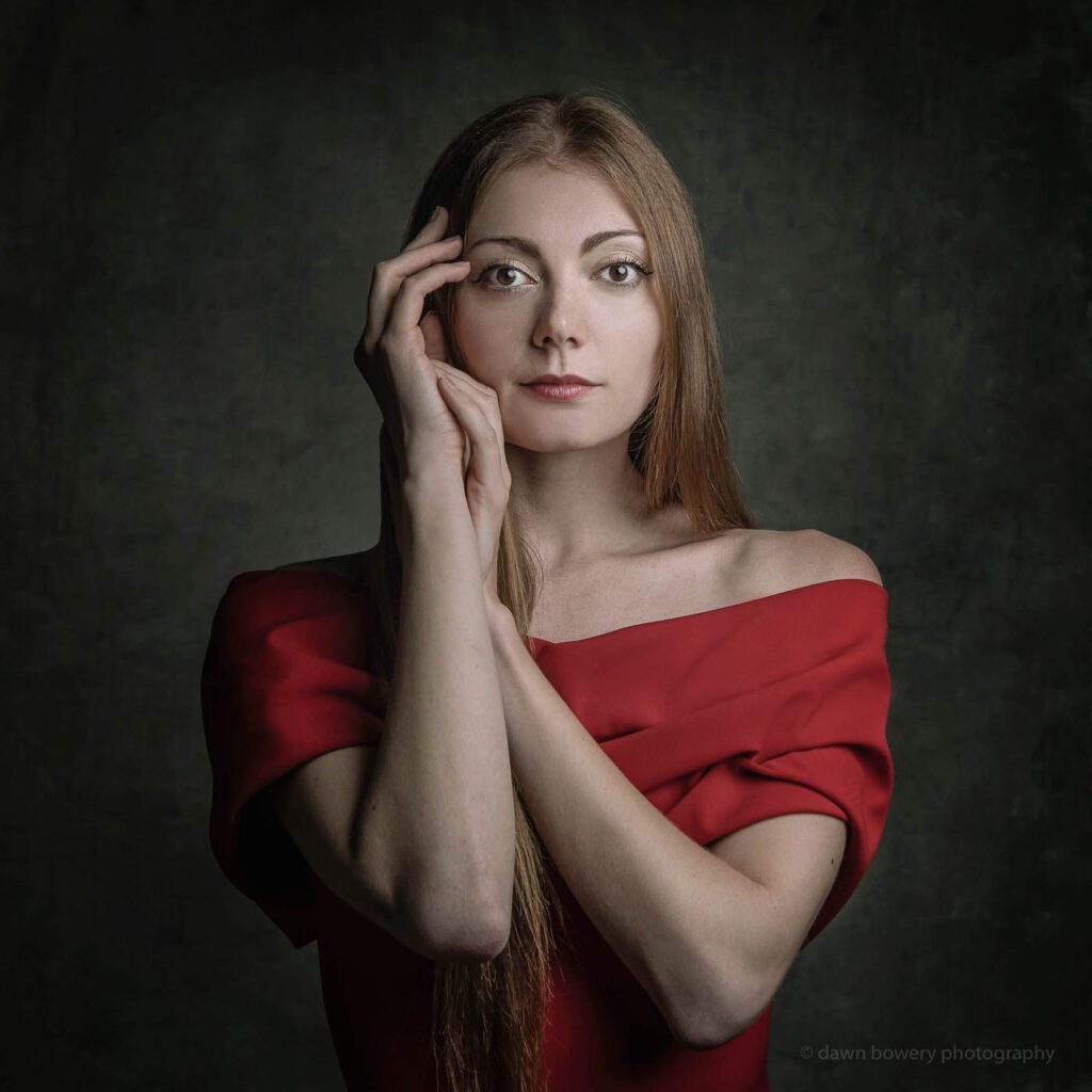 los angeles creative portrait red dress