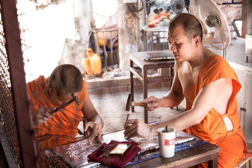 thailand monk handicrafts temple