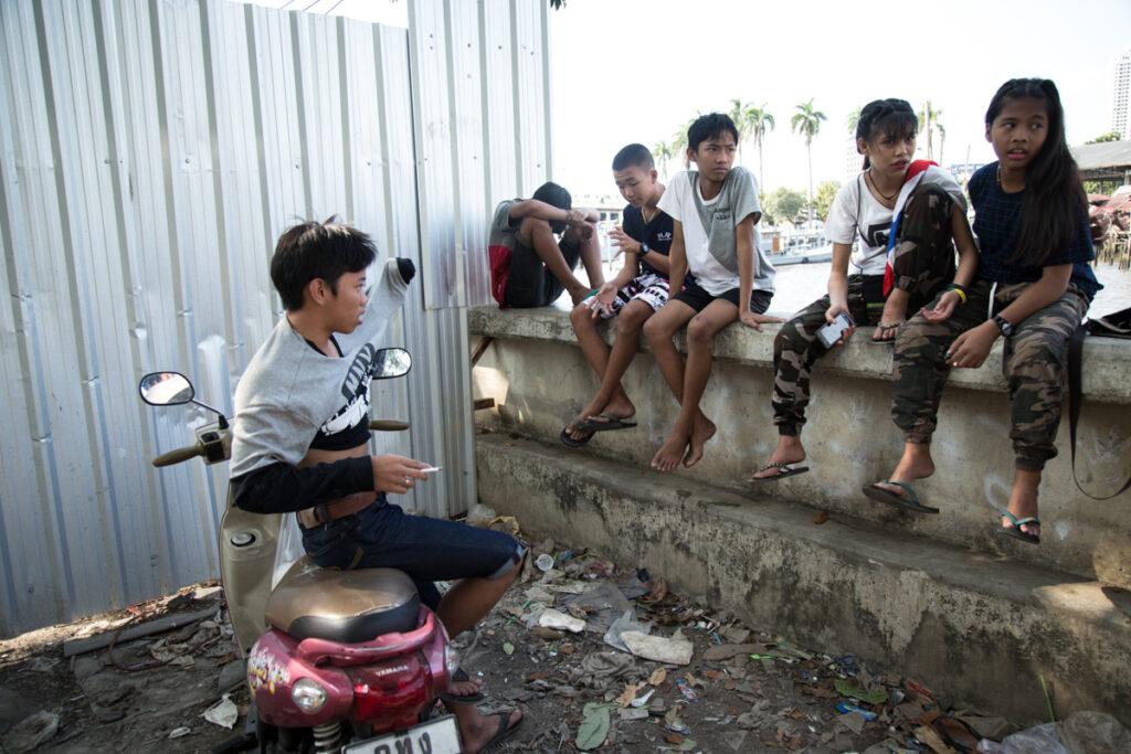 thailand bangkok river kids