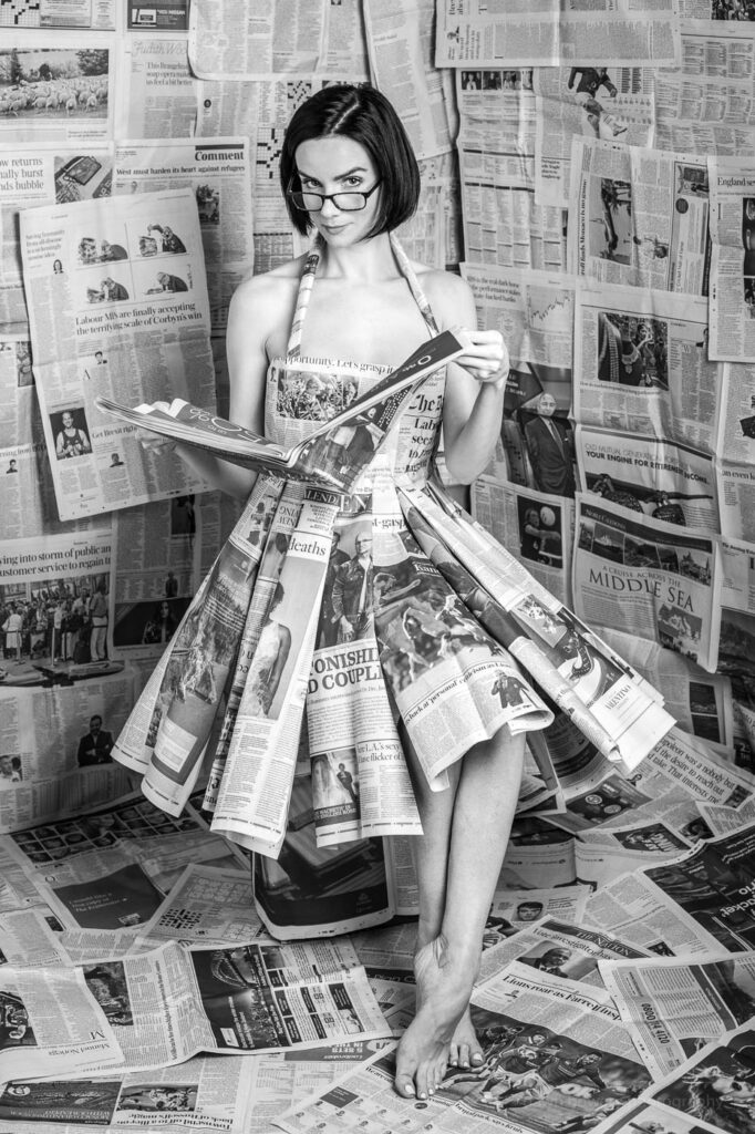 los angeles creative portrait photographer newspaper dress victoria summer