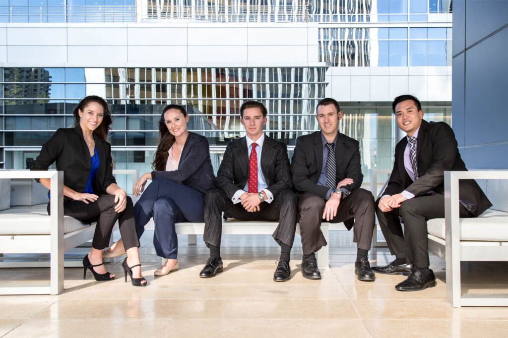 los angeles corporate relaxed group portrait