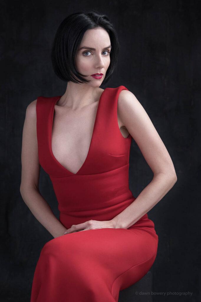victoria summer red dress studio portrait