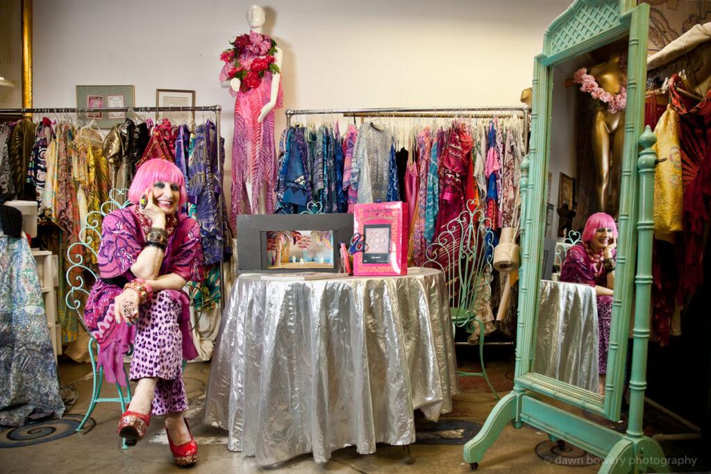 zandra rhodes fashion designer pink hair california dreaming brits in la book dawn bowery
